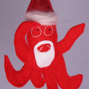 ho-ho! Santa Squid ready for the tree. By Cleo Dee.